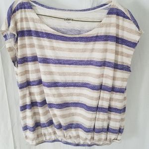 Ann Taylor Loft Short Sleeve Striped Blouse